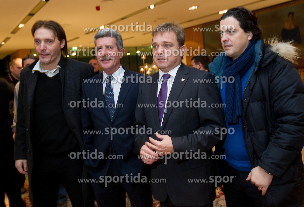 Miran Pavlin, Drago Cotar, Bojan Ban and Zlatko Zahovic during traditional New Year Gala Night Reception of NZS - Football Association of Slovenia, on December 17, 2012 in Kongresni center, Brdo pri Kranju, Slovenia. (Photo By Vid Ponikvar / Sportida.com)