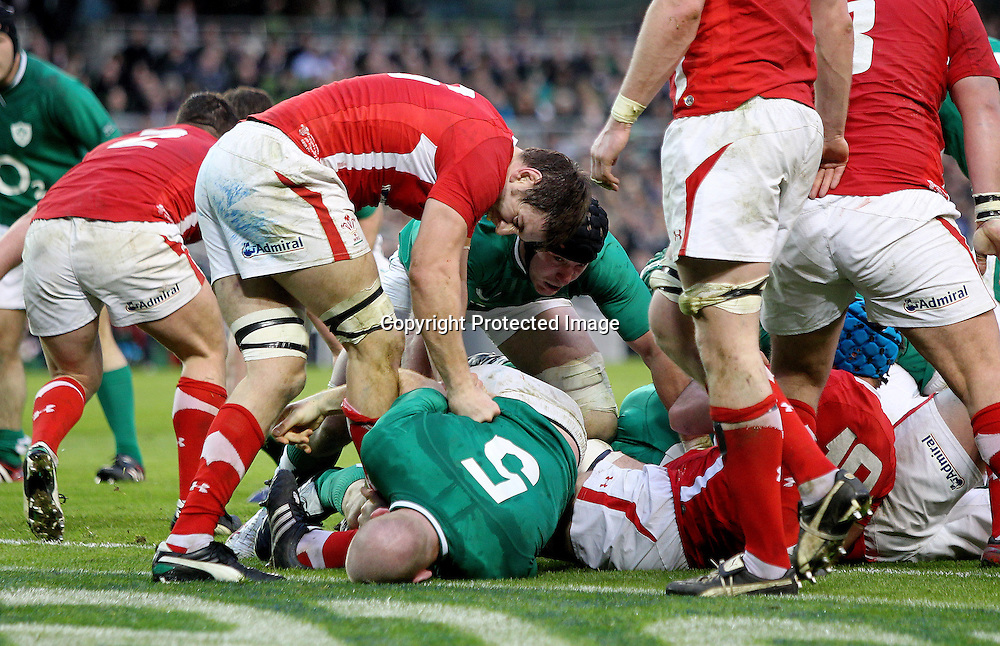 RBS Six Nations Championship, Aviva Stadium, Dublin 5/2/2012<br /> Ireland vs Wales<br /> Wales' Ryan Jones and Paul O'Connell of Ireland<br /> Mandatory Credit &copy;INPHO/James Crombie