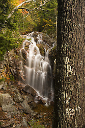 A waterfall along Hadlock Brook as seen from Waterfall Bridge in Maine's Acadia National Park.