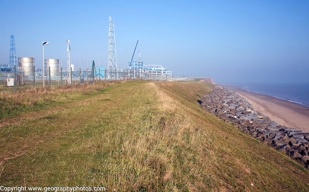 Rock armour coastal defences protect the gas terminal at Easington, Yorkshire, England