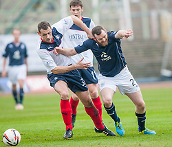 Falkirk's David McCracken holds Dundee's Craig Beattie.<br /> Dundee 0 v 1 Falkirk, Scottish Championship game played today at Dundee's Dens Park.<br /> &copy; Michael Schofield.