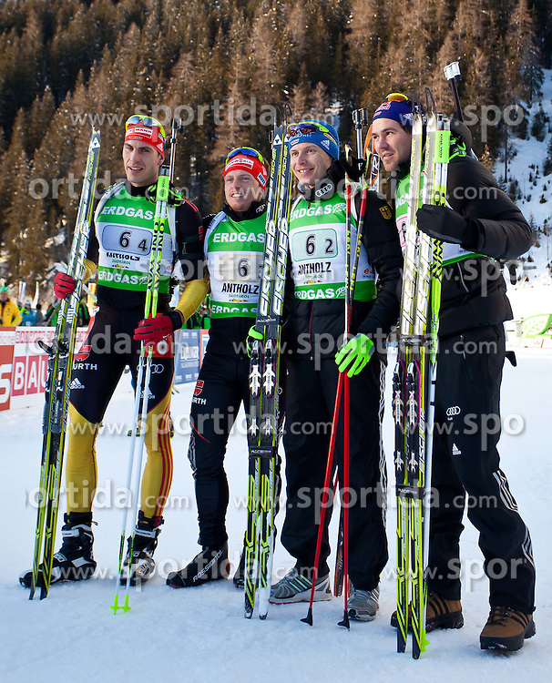 "22.01.2012, Südtirol Arena, Antholz, ITA, E.ON IBU Weltcup, 6. Biathlon, Antholz, Staffel Herren, im Bild zweiter Platz für die Deutsche Staffel, vl.nr. Arnd Peiffer (GER), Florian Graf (GER), Andreas Birnbacher (GER) und Michael Roesch (GER) // during Men Relay n E.ON IBU World Cup 6th, ""Southtyrol Arena"", Antholz-Anterselva, Italy on 2012/01/22, EXPA Pictures © 2012, PhotoCredit: EXPA/ Juergen Feichter"