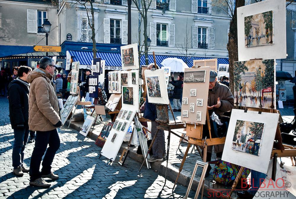 Place du Tertre and painters. Montmartre. Paris, France, Europe.