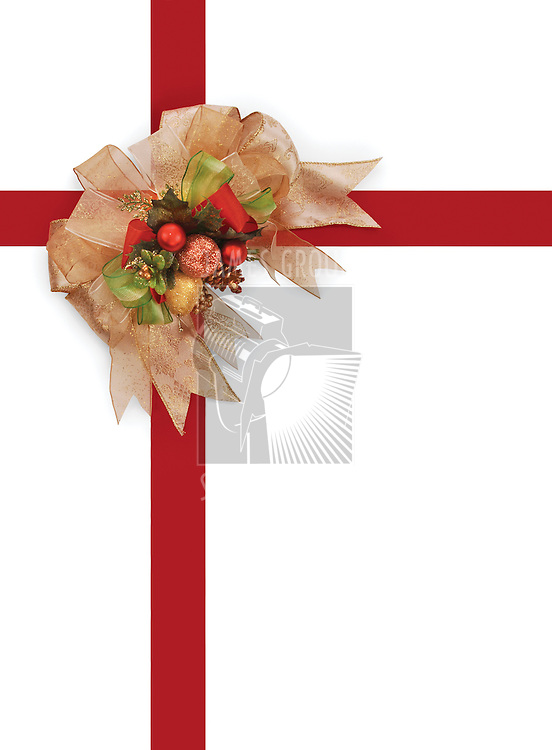 decorative Christmas bow with red ribbon on white background with clipping path