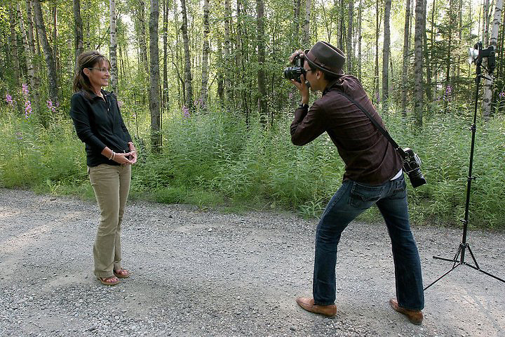WASSILA, ALASKA - 2009: Brian Adams photographing Alaska Governor Sarah Palin for Time Magazine.<br />