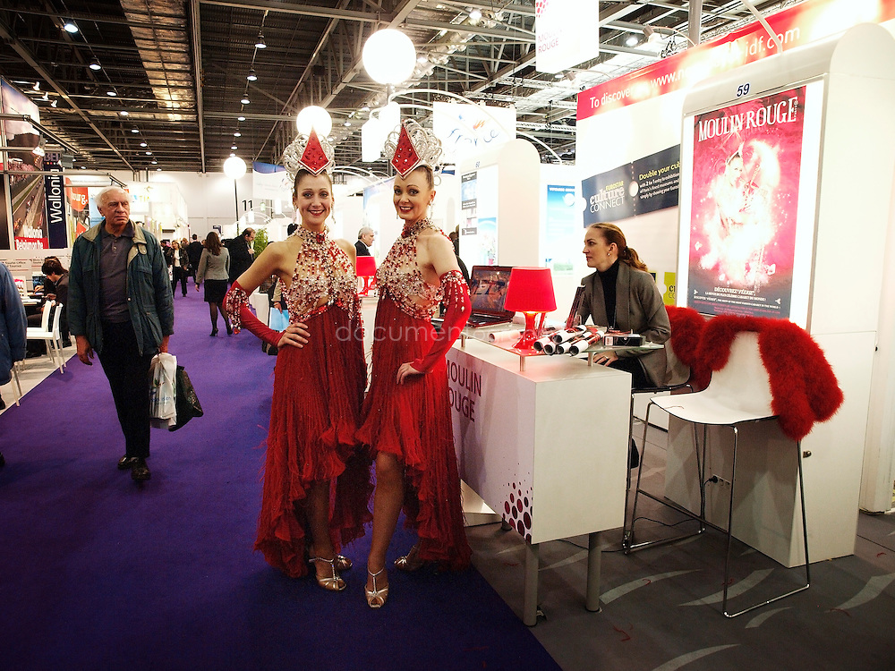 The Moulin Rouge at the french stand of the World Travel Market, ExCel, London, UK.
