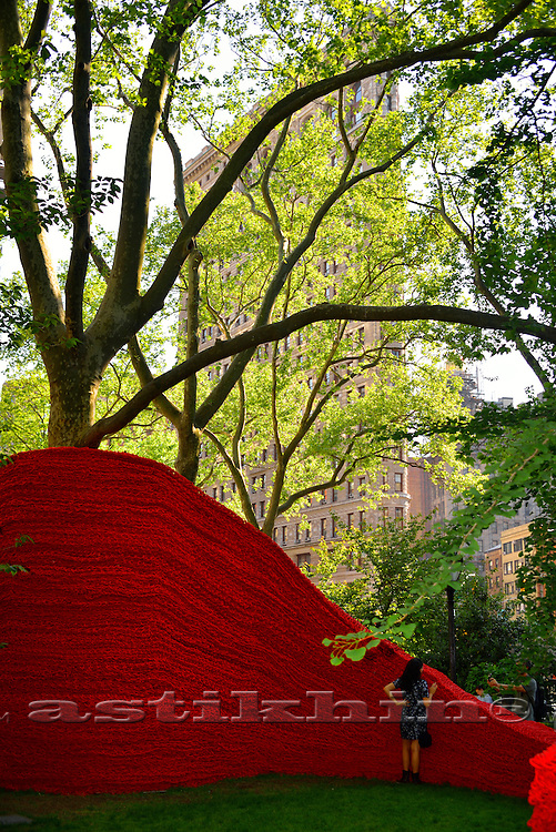 Orly Genger's Red, Yellow and Blue in Madison Square Park. NYC.