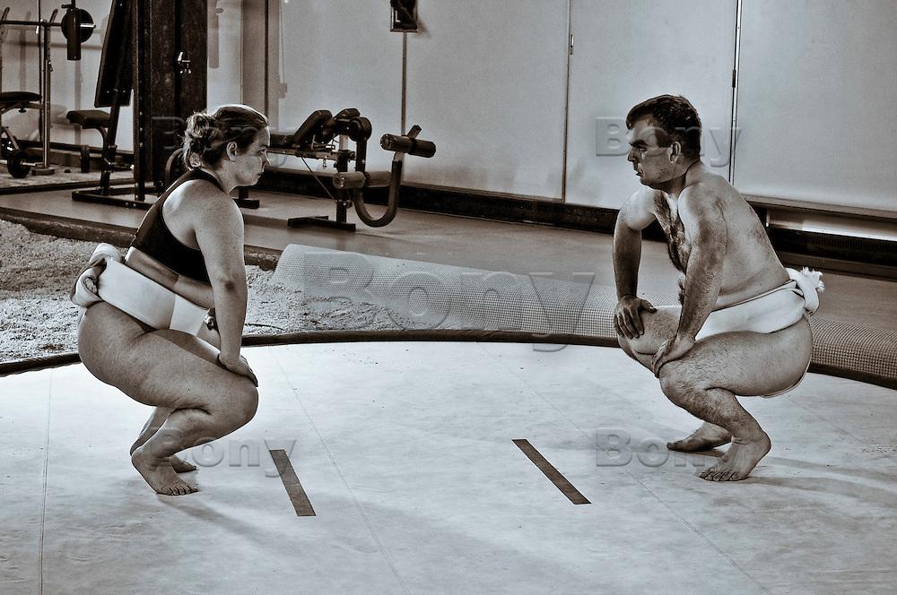 Training. Giuletta and his boy-friend, Daniel. Geneva, Switzerland.