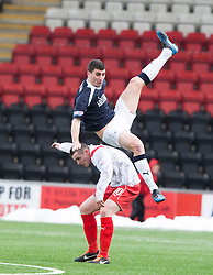 Falkirk's Johnny Flynn  over Airdrie United's Liam Coogans..half time : Airdrie United 0 v  0 Falkirk, 30/3/2013..©Michael Schofield..