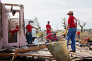 The aftermath of the Joplin tornado in Joplin, Missouri, on June 25, 2011. The tornado was a catastrophic EF5 multiple-vortex tornado on Sunday, May 22, 2011. The storm killed 158 people and resulted in $2.8 billion dollars in damage.