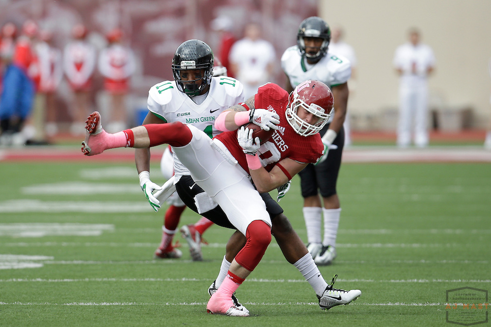 04 October 2014: Indiana Hoosiers safety Chase Dutra (30)  as the Indiana Hoosiers played North Texas in a NCAA college football game in Bloomington, IN.