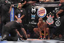 August 27, 2011; Rio De Janiero, Brazil; Anderson Silva in the octagon for his UFC Middleweight Championship bout against Yushin Okami at UFC 134 in Rio De Janiero.