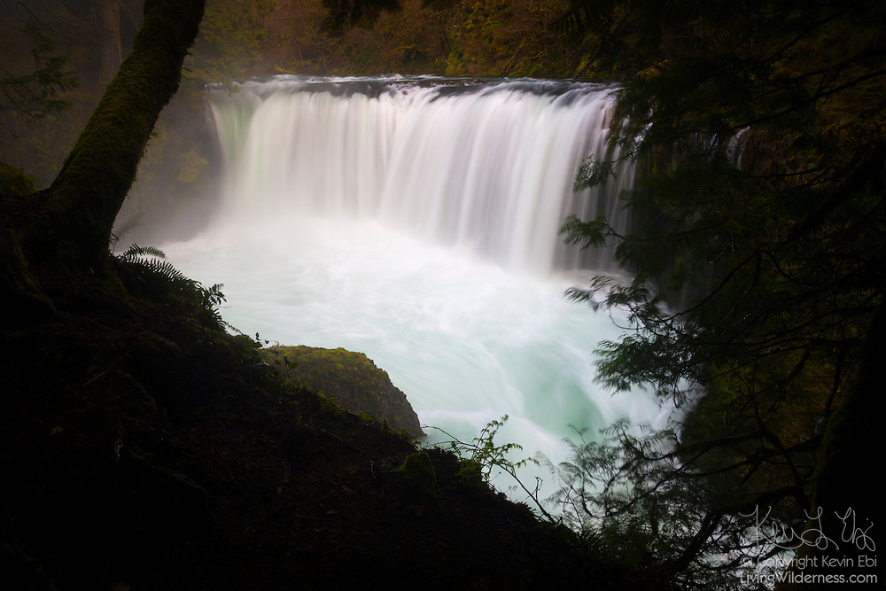 The Little White Salmon River drops about 35 feet (10 meters) at Spirit Falls, located in Skamania County, Washington. The waterfall and the cascades below it are especially popular with kayakers. The Little White Salmon River is a tributary of the Columbia River.