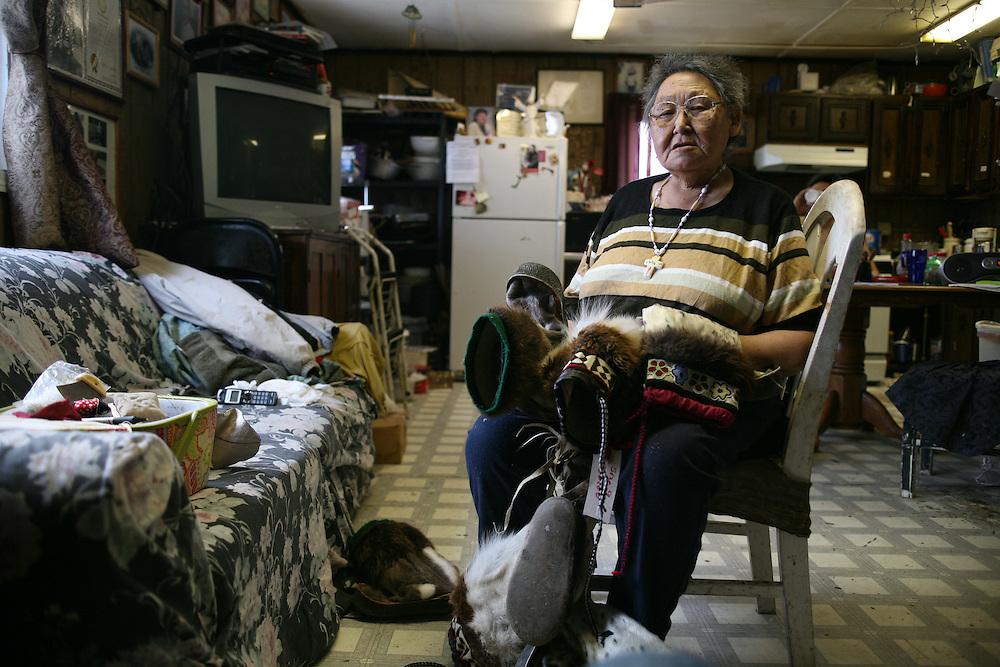 Artist Lucy S. Adams in Her home in Kivalina, Alaska.