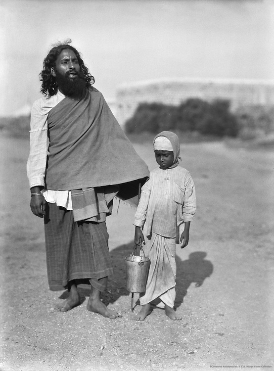 Mohammedan Beggar with a Girl,  Guntakal, India, 1929