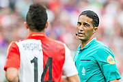 ROTTERDAM - Feyenoord - Vitesse , Voetbal , Seizoen 2015/2016 , Eredivisie , De Kuip , 23-08-2015 , Scheidsrechter Serdar Gozubuyuk (r) in gesprek met Speler van Feyenoord Bilal Basaçikoglu (l)