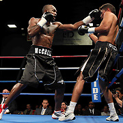 Welterweight boxing pro Cecil Mccalla of Baltimore, MD (L) Knocks out Welterweight boxing pro Francisco Reza (R) in the first round of champs at the chase match Friday, Nov 21, 2014 at The Case Center on The River Front in Wilmington, Del.