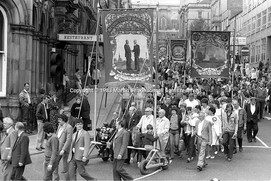 Elsecar, Cortonwood and Silverwood banners, 1983 Yorkshire Miner's Gala. Barnsley