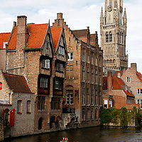 Europe, Belgium, Brugges. Canal cruise in Brugges.