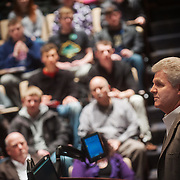 Jack Jones, VP and General Manager of Boeing South Carolina, spoke to business and engineering students and faculty at Gonzaga University.  (Photo by Gonzaga University)