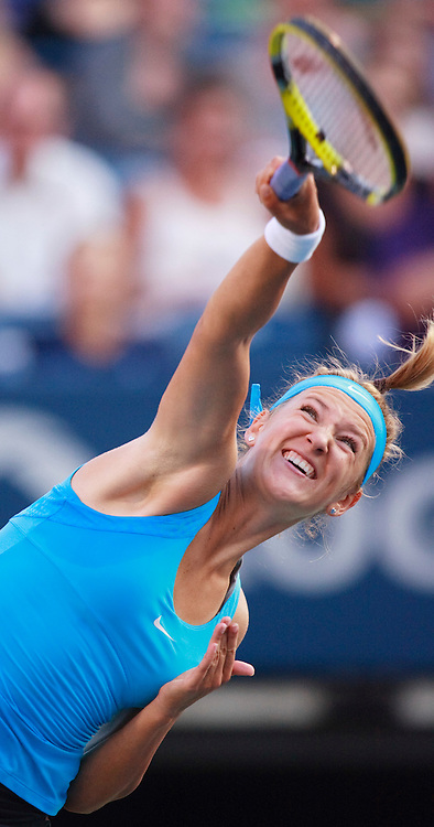 Victoria Azarenka of Belarus serves during her semi-final match  against Serena Williams of the United States at the Rogers Cup WTA event in Toronto, Ontario, August 13, 2011. Williams defeated Azarenka in straight  sets.<br /> AFP PHOTO/Geoff Robins