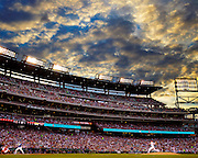 WASHINGTON, DC - JUNE 13, 2016: A general wide angle interior day time view from behind the first base line during the game between the Chicago Cubs and the Washington Nationals at Nationals Park on June 13, 2016 in Washington, DC. (Photo by Jean Fruth)