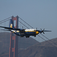The Navy's Blue Angels perform Acrobatic maneuvers during the air show at Fleetweek in San Francisco