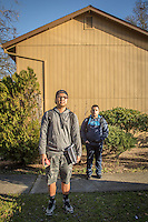 """""""If I could change one thing about myself, I would want to be less of a procrastinator."""" -High school student Justin Cruz with his friend, Brian Lopez, in front of their apartment complex at Myrtle and Berry Streets in Calistoga"""