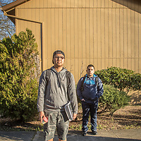 """If I could change one thing about myself, I would want to be less of a procrastinator."" -High school student Justin Cruz with his friend, Brian Lopez, in front of their apartment complex at Myrtle and Berry Streets in Calistoga"