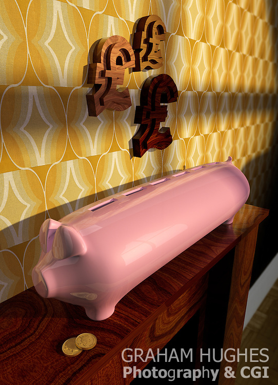 Stretch Pink Piggy Bank On Wooden Mantle Piece. British Pound Symbols On Wall Above.