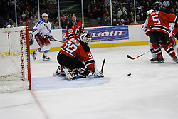 Feb 20, 2007; East Rutherford, NJ, USA; New Jersey Devils goalie Martin Brodeur (30) makes a save during the second period at Continental Airlines Arena in East Rutherford, NJ.