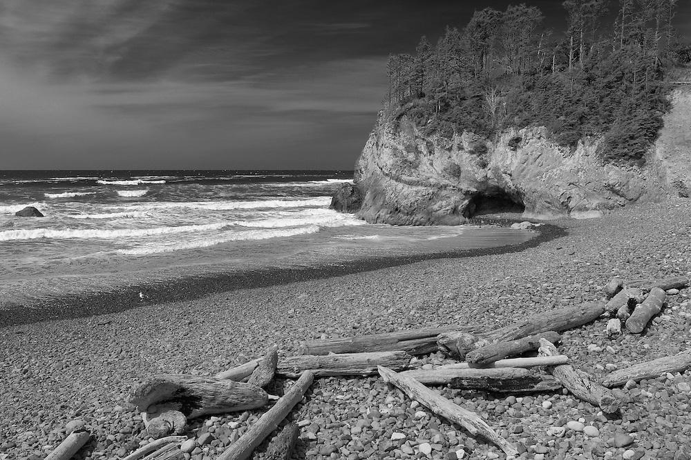 Hug Point Cave - Oregon Coast - Infrared Black & White