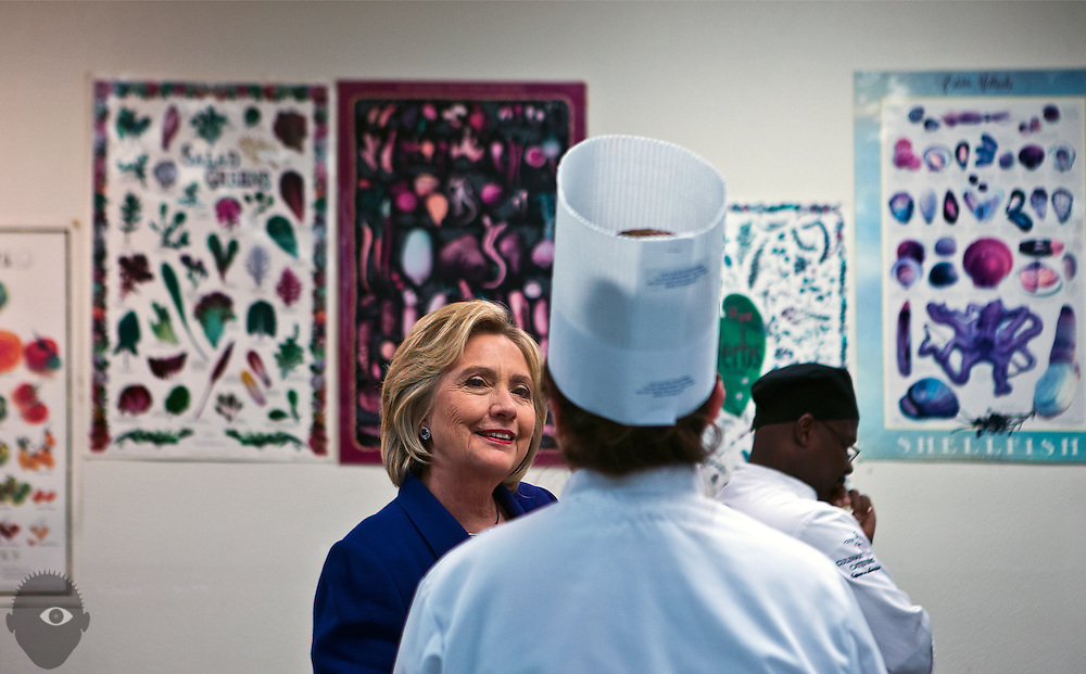 Hillary Clinton speaks to a young cook as she tours the Culinary Academy of Las Vegas on Wednesday, January 6, 2015.  L.E. Baskow