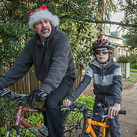 Construction manager Brian Fennen with  his son, Dylan, out for a bike ride on Christmas day in Calistoga