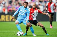 ROTTERDAM - Feyenoord - Willem II , Voetbal , Seizoen 2015/2016 , Eredivisie , Stadion de Kuip , 13-09-2015 , Willem II Speler Funso Ojo (l) in duel met Speler van Feyenoord Karim El Ahmadi (r)