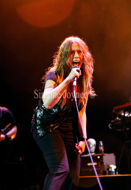 Singer Alanis Morissette performs live on stage at Carling Brixton Academy on June 19, 2008 in London, England.  (Photo by Simone Joyner)