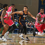Delaware 87ers Guard NATE ROBINSON (1) drives past defender Salt Lake City Stars Guard MARCUS PAIGE (4)  in the first half of an NBA D-league regular season game between the Delaware 87ers and the Salt Lake City Stars (Utah Jazz) Friday, March 17, 2017 at The Bob Carpenter Sports Convocation Center in Newark, DEL