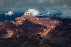 Clouds form on Buddha Temple in Grand Canyon National Park.