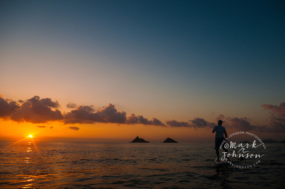 Stand-Up Paddle Boarding at sunrise on Kailua Bay, Oahu, Hawaii