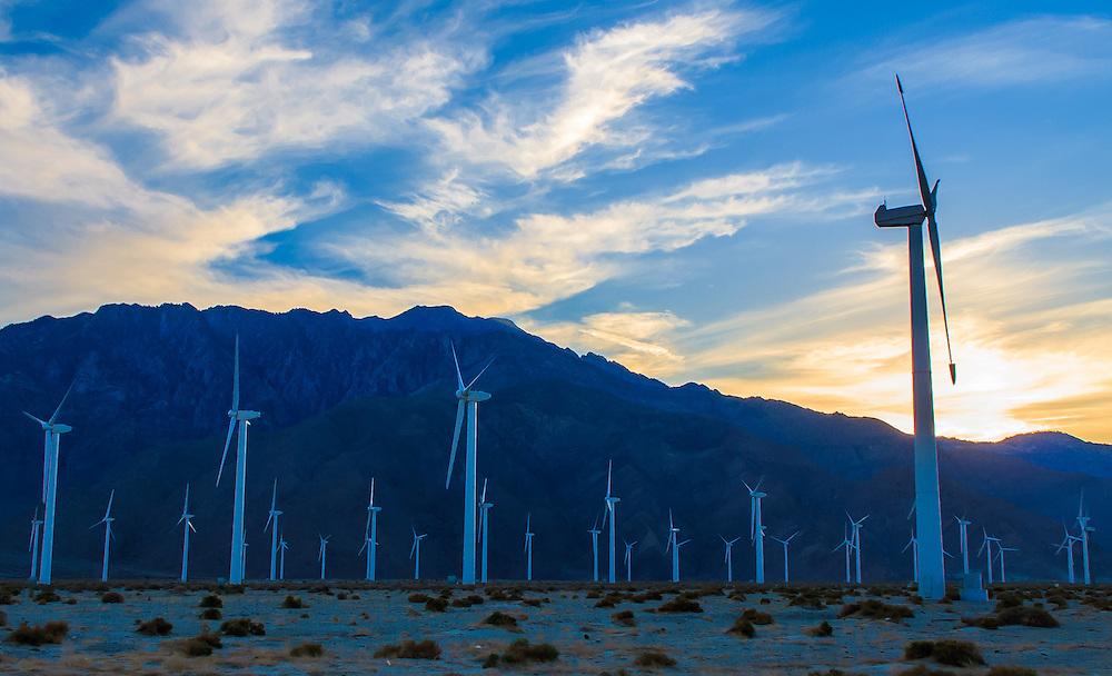 Windmills at sunset near Palm Springs, California.