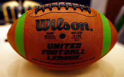Aug 13, 2009; New York, NY, USA; The United Football League football during the press conference at The Princeton Club.