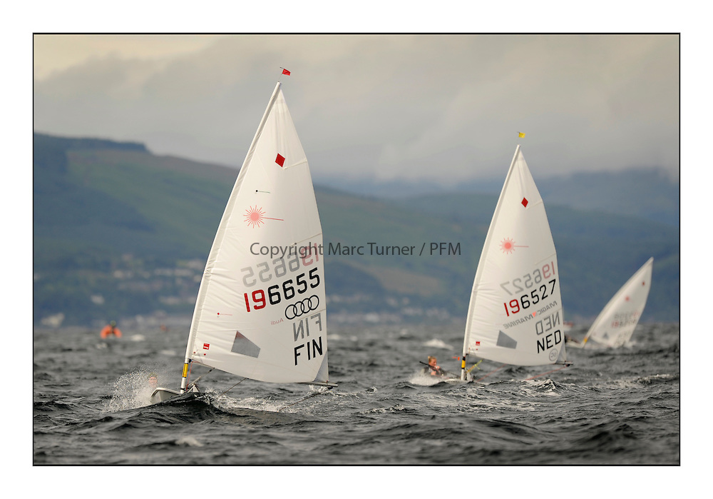 Sari Multala, FIN 196655 and Claire Blom, NED 196527.Opening races in breezy conditions for the Laser Radial World Championships, taking place at Largs, Scotland GBR. ..118 Women from 35 different nations compete in the Olympic Women's Laser Radial fleet and 104 Men from 30 different nations. .All three 2008 Women's Laser Radial Olympic Medallists are competing. .The Laser Radial World Championships take place every year. This is the first time they have been held in Scotland and are part of the initiaitve to bring key world class events to Britain in the lead up to the 2012 Olympic Games. .The Laser is the world's most popular singlehanded sailing dinghy and is sailed and raced worldwide. ..Further media information from .laserworlds@gmail.com.event press officer mobile +44 7775 671973  and +44 1475 675129 .