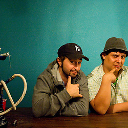 072910       Brian Leddy.Josh Martinez, left, and Sleep of hip-hop act The Chicharones chill backstage before their show on Thursday night at the Juggernaut.