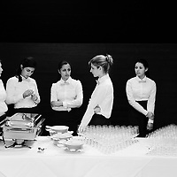 Waitresses during the long wait to serve shareholders at the annual general meeting of Swiss bank UBS. Food and drink is served at the end of all business, which in this case was several hours later.