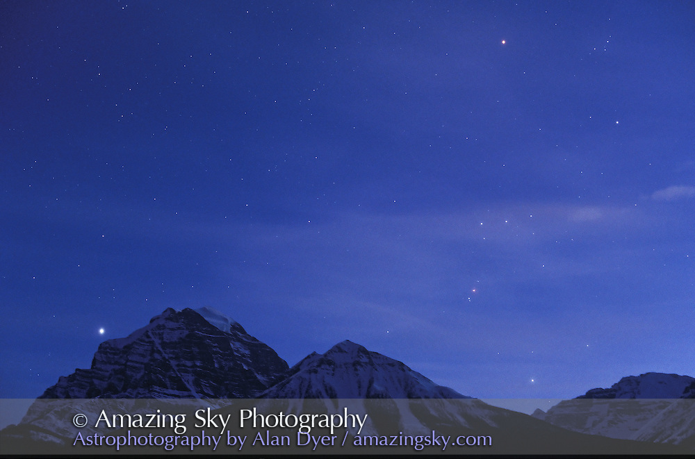 Orion over Mount Temple, near Lake Louise in Banff National Park, Alberta<br /> In twilight with 50mm lens at f/2.8<br /> Ektachrome Elite II 400 slide film<br /> 10 second exposure?<br /> April 1997