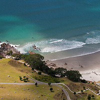 Looking down at the beach from Mt. Mauao, Tauranga, New Zealand.