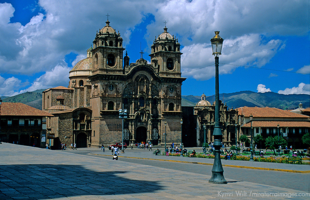 South America; Peru; Cusco. La Compania church and main square.