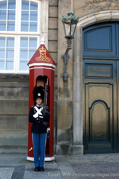 Europe, Denmark, Copenhagen. Royal Life Guard of Amalienborg.