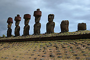 Moai sit on the ahu platform at Anakena, on Easter Island's north coast
