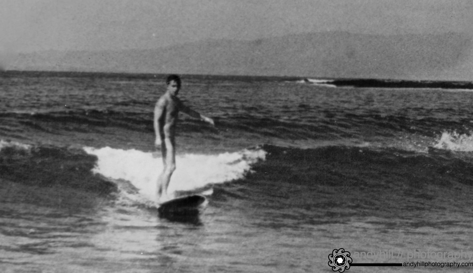 My father, Ian Hill Surfing Bundoran, County Donegal 1964, age 26. He will be 76 this February.